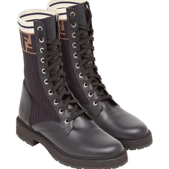 7aeafd3b34b Fendi Rockoko Combat Boots